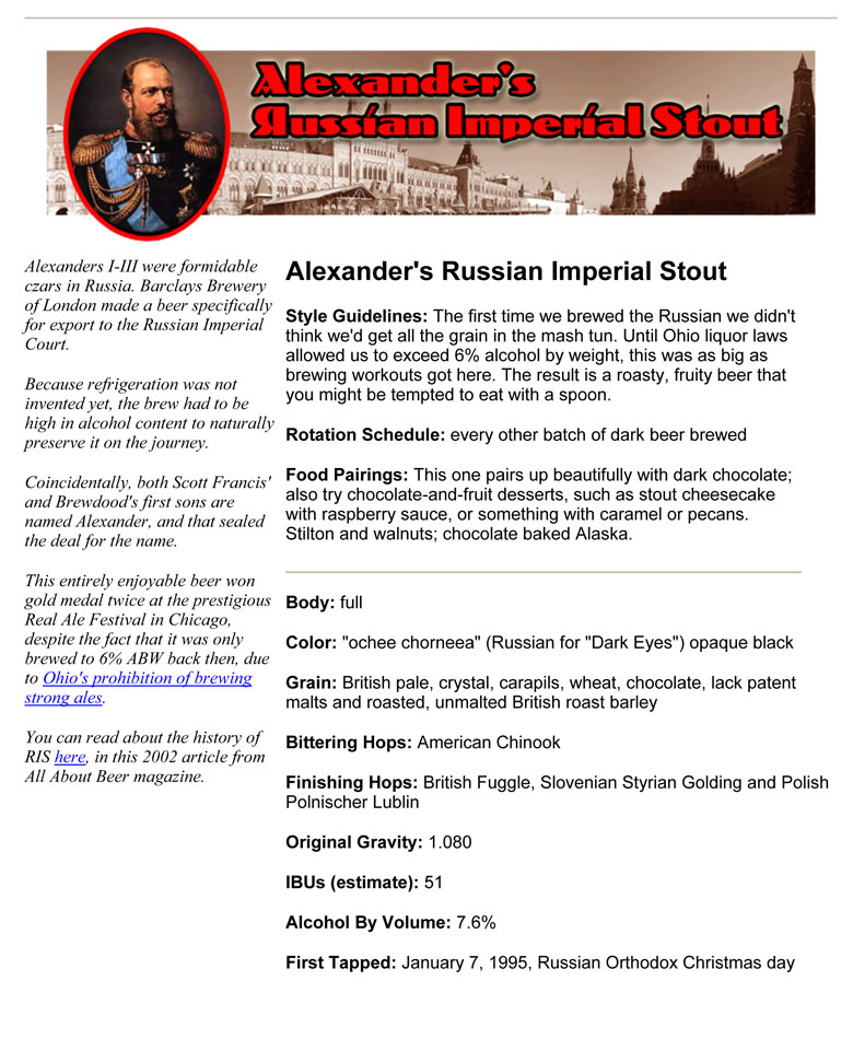 Smokehouse Alexander's Russian Imperial Stout