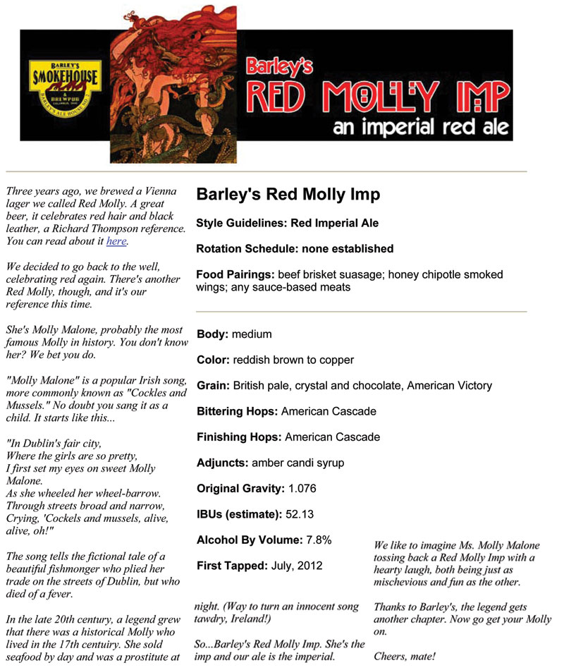 Barley's Smokehouse Red Molly Imp