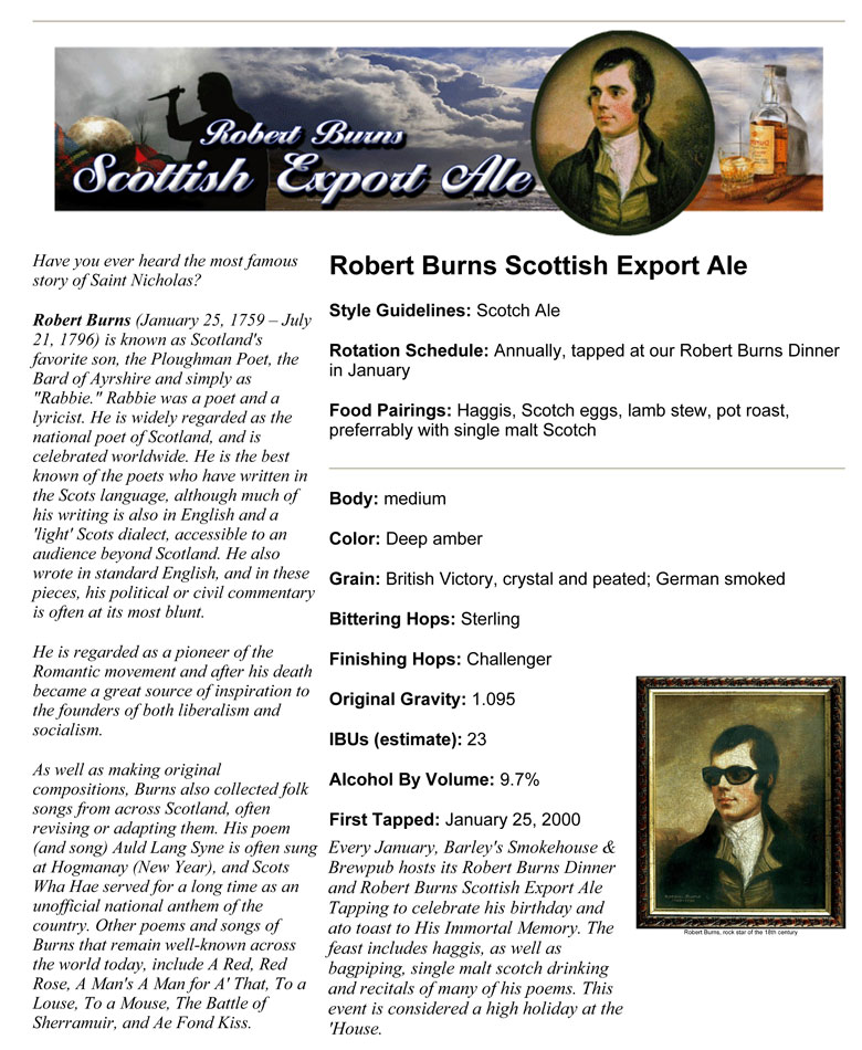 Barley's Smokehouse Robert Burns Scottish Export Ale