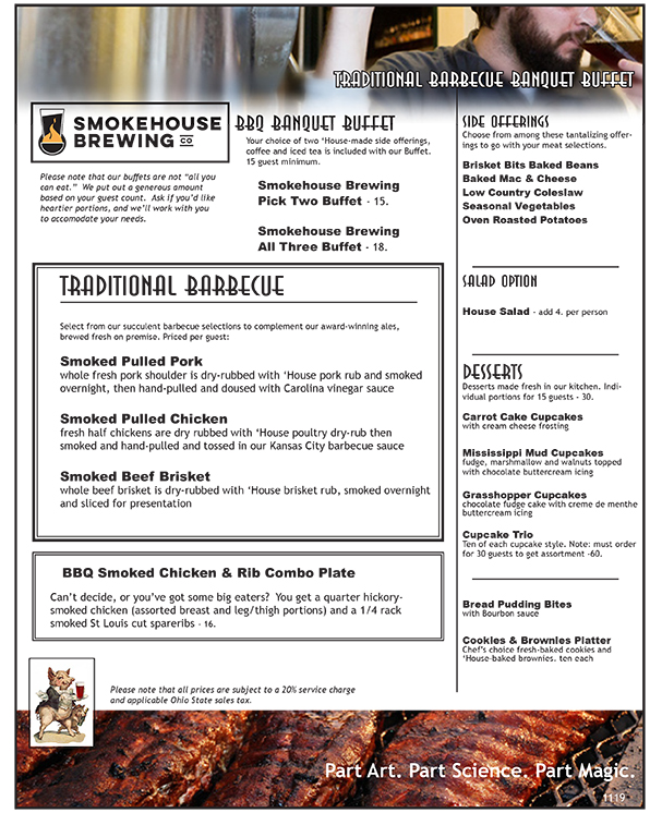 Smokehouse BBQ Buffet Menu