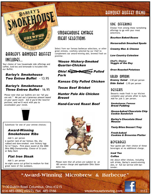 Barley's Smokehouse Banquest Buffet Menu