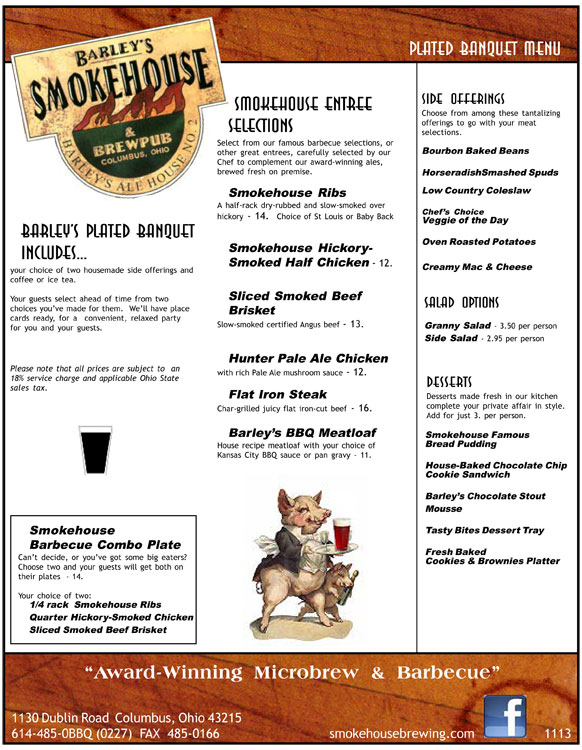 Barley's Smokehouse Banquest Plated Menu