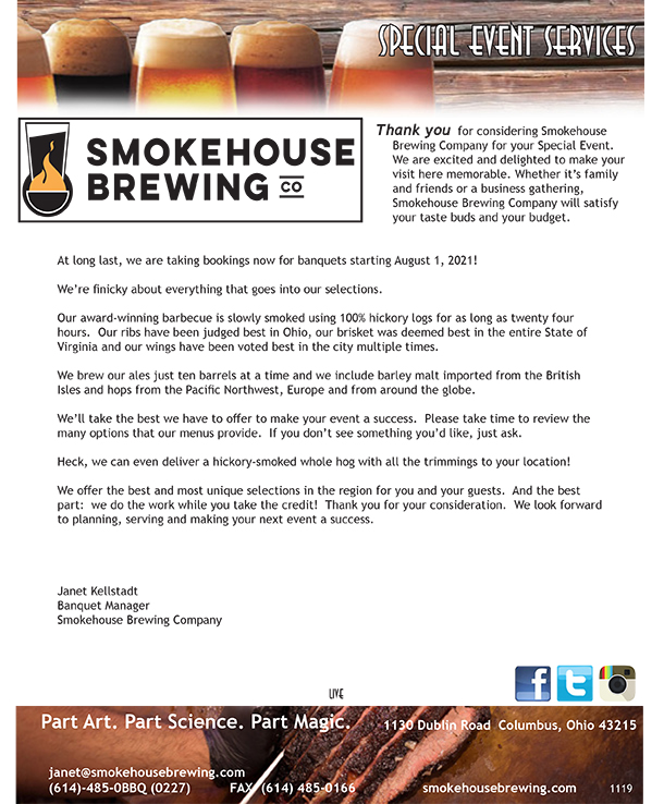 Smokehouse Brewing Company Banquet