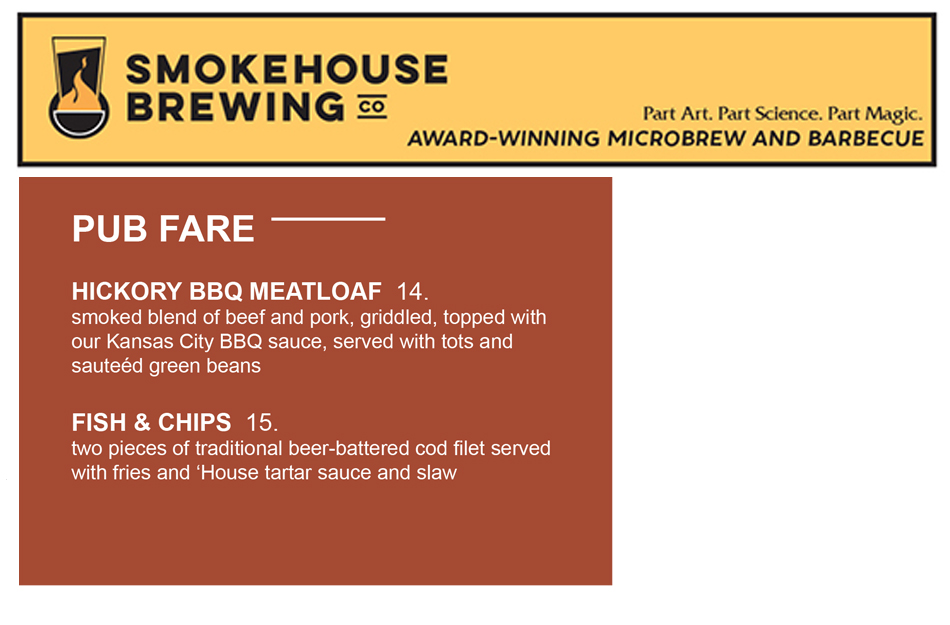 Smokehouse Brewing Company Signature Entrees