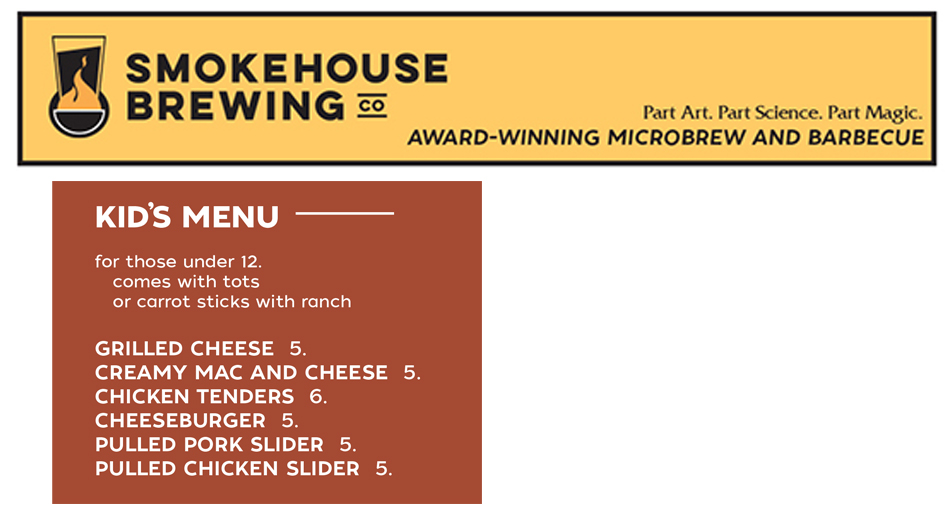 Smokehouse Brewing Company Kids Offerings